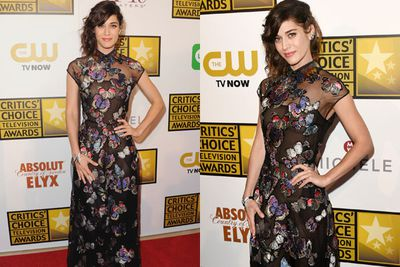 She's got butterflies! <I>Mean Girls</I> star Lizzy Caplan proves she does go here, with an ethereal frock that Janis Ian would've hated.