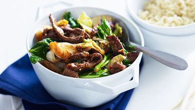 "Recipe: <a href=""http://kitchen.nine.com.au/2016/05/16/19/31/peanut-chilli-beef-with-choy-sum"" target=""_top"">Peanut chilli beef with choy sum</a>"