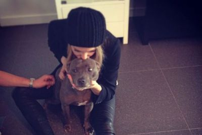 Jen and hubby Jake Wall's dog Milly often appears on her Instagram account. We love her sooky face!