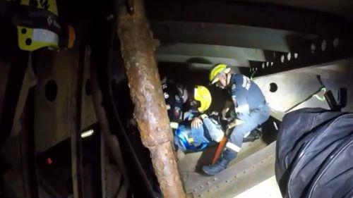 The training excercise took place inside the HMAS Diamondtina. (9NEWS)