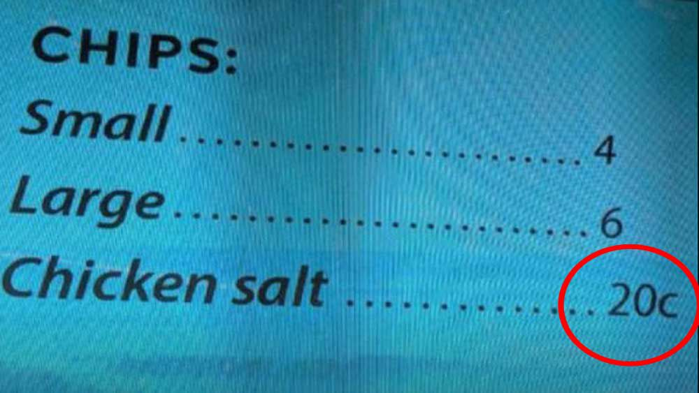 Cafe's chicken salt charge