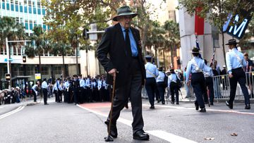 An elderly man is pictured during the ANZAC Day March on April 25, 2019 in Sydney, Australia.