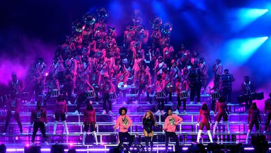 Beyonce Knowles performs onstage with Les Twins during the 2018 Coachella Valley Music And Arts Festival at the Empire Polo Field on April 21, 2018 in Indio, California