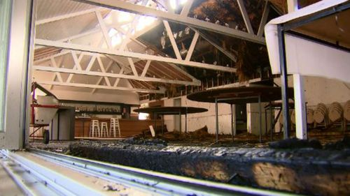 The function room of the hotel was badly damaged. (9NEWS)