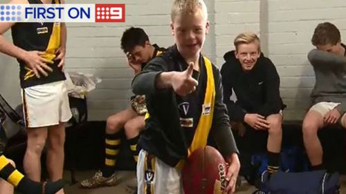 Alec Kenneally's dream came true after he made his debut football match in Gippsland today. (9NEWS)