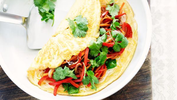 Vegetable noodle omelettes