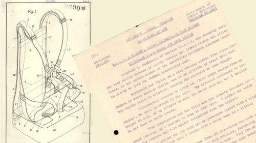 Sergeant Alexander MacDonald's account of bailing from his plane in 1943 (left) with a patent application for an improved parachute harness. (NAA: A627, 29690/1930)