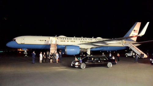 Air Force Two is seen on the tarmac in Cairns as United States Vice President Mike Pence and his wife Karen arrive in Queensland.