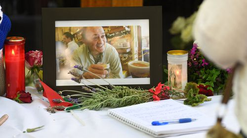 Pellegrini's has been blanketed in an outpouring of love and grief in the form of flowers, cards and candles.