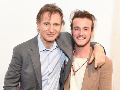 Liam Neeson, son Michael Neeson, Maison Mais Non launch party, Soho, June 2, 2015, London.