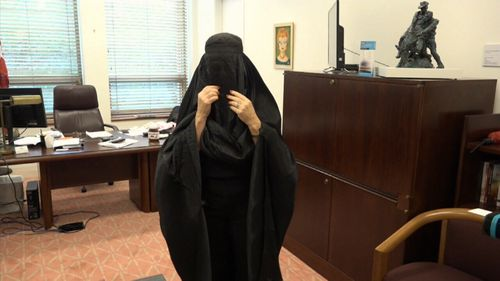 In exclusive video of Senator Hanson trying on the burqa, she can be heard to say she had to take a stand on what she believed in.