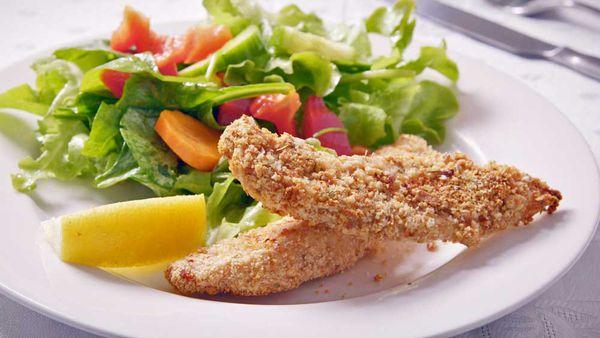 Garlic and herb crumbed chicken strips
