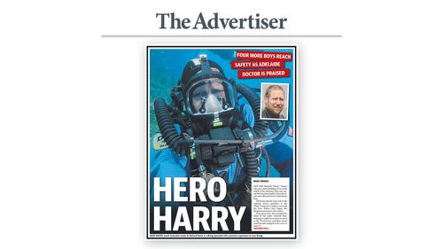 """Hero Harry"""" was the headline splashed across the front page of Adelaide's The Advertiser today. Image: The Advertiser"""