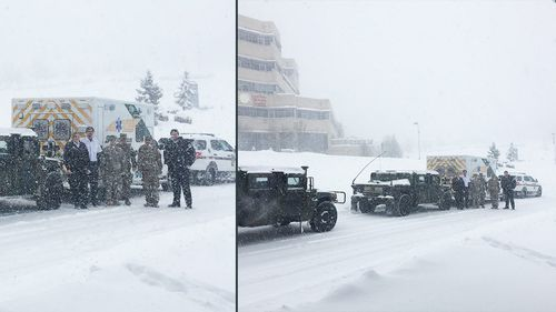 US national guard provides sick baby with snowstorm convoy