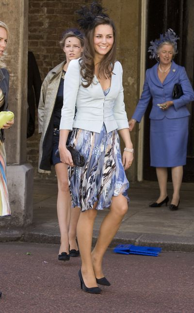 In July 2008 Kate stepped out for the wedding of&nbsp;Lady Rose Windsor and George Gilman. Lady Windsor is the first cousin once-removed of Queen Elizabeth II.<br /> Prince William was MIA as he was in the Caribbean practising disaster relief.<br /> Kate looked feathery and feminine in a blue dress and fascinator.