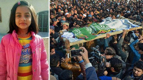 The funeral of Zainab Ansari, 8, who was raped and murdered, sparked riots in the city of Kasur. (Photo: AP).