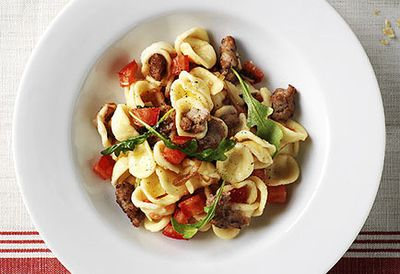 Orecchiette with sausage and rocket