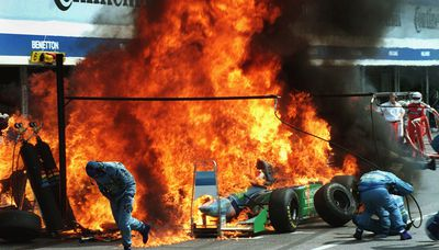 Jos Verstappen's Benetton had a fire incident during a pitstop at the 1994 German Grand Prix
