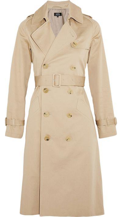 """<a href=""""http://www.net-a-porter.com/product/512354/APC_Atelier_de_Production_et_de_Creation/greta-cotton-gabardine-trench-coat"""">Greta Cotton-Gabardine Trench Coat, $694.11, A.P.C</a>"""