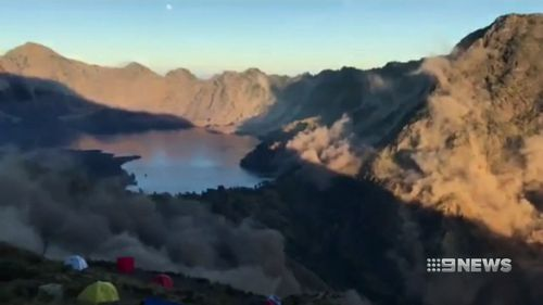 The national park authority said a key route to the summit of the 3726-metre mountain had been cleared on Monday, and a helicopter was dropping supplies to others still picking their way to safety. Picture: 9NEWS
