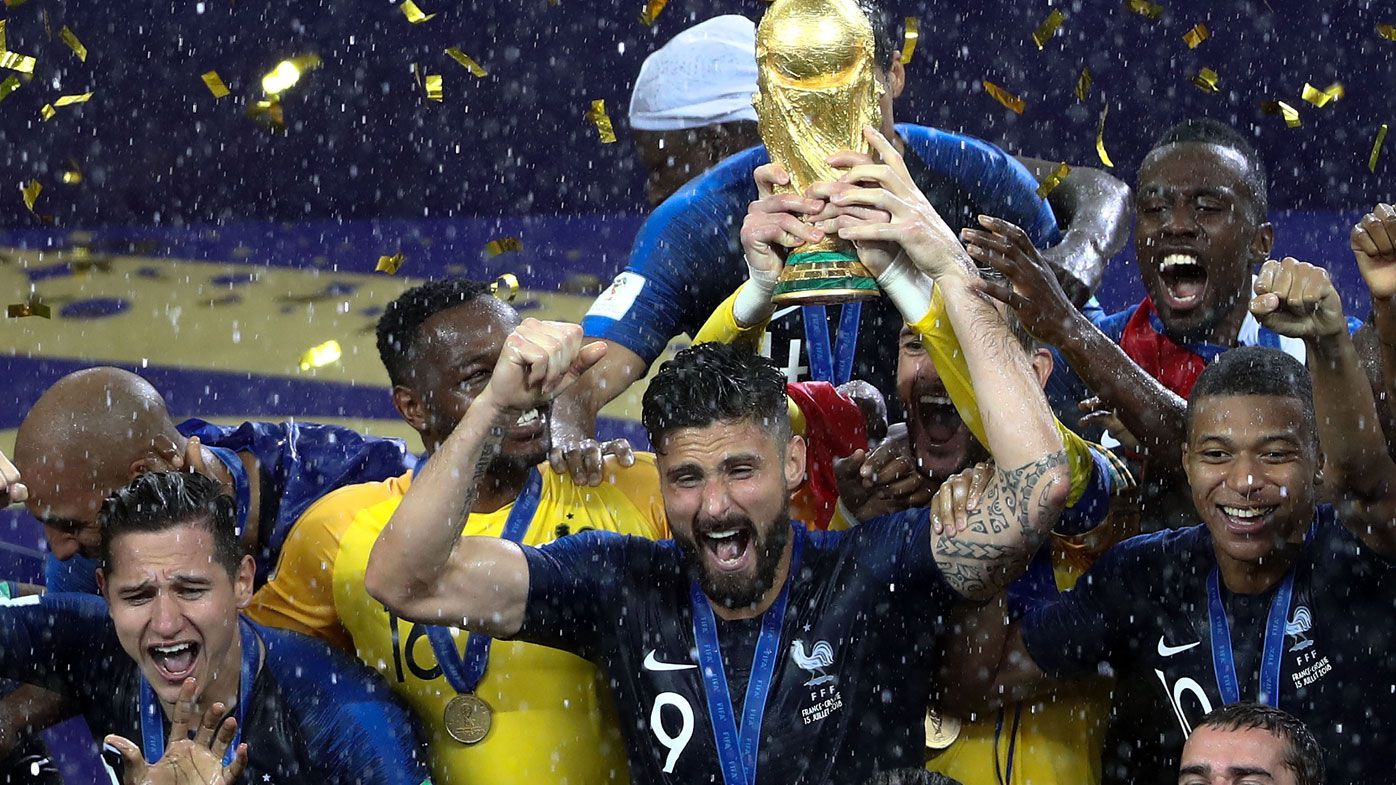 France celebrates their World Cup win.