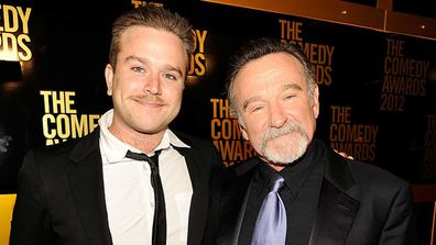 Zachary Pym Williams and Robin Williams in 2012.