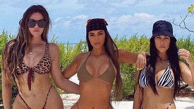 Kim Kardashian, bikini photo, sisters, Khloe Kardashian, Kourtney Kardashian, 40th birthday
