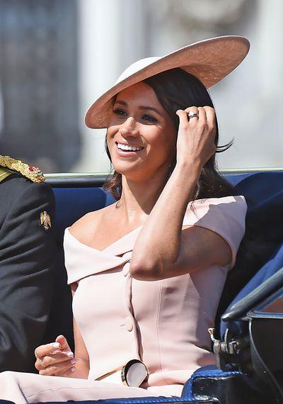 Duchess of Sussex Meghan Markle in Carolina Herreraat the Trooping The Colour in London, June, 2018