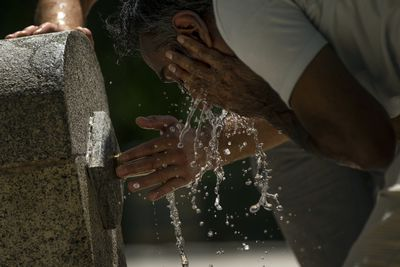 <p>Europe is currently in the grips of a record-breaking heatwave with temperatures climbing to 40C and beyond across the region.</p> <p>The weather phenomenon has sparked droughts and fires across the continent, with Spain and Portugal experiencing some of the most extreme heat.</p> <p>Pictured: A man cools off in a public fountain at the Retiro park in Madrid, Spain. Much of the Iberian Peninsula is experiencing this year's first heatwave.</p>