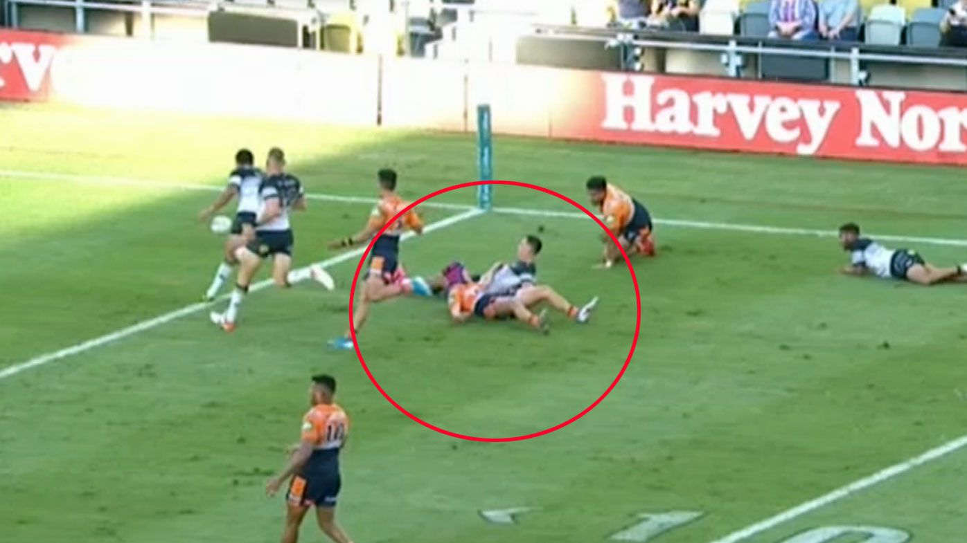 Ponga is tackled before getting the ball, denying him a try-scoring opportunity