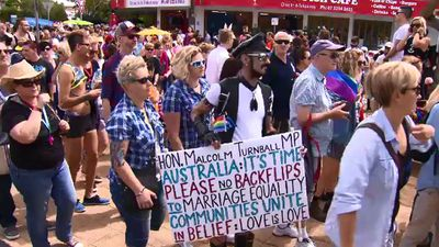Some marchers carried political messages. (9NEWS)