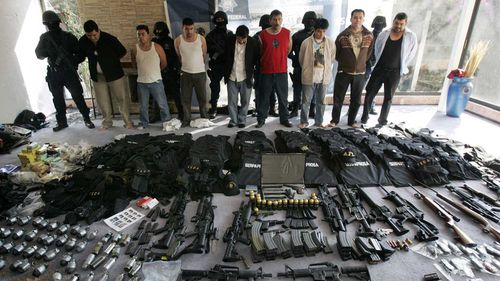 A cache of weapons seized from the Sinaloa cartel.