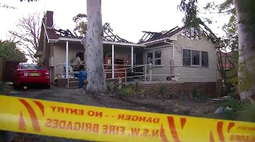 The house at Midson Road at Epping in Sydney's north-west has been destroyed by fire. Picture: 9NEWS
