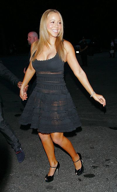 Singer Mariah Carey shows off her patchy leg work while out and about in New York in 2014