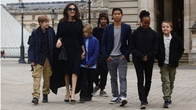 Angelina Jolie, Maddox Jolie-Pitt, Pax Jolie-Pitt, Zahara Jolie-Pitt, Shiloh Jolie-Pitt and Knox and Vivienne Jolie-Pitt
