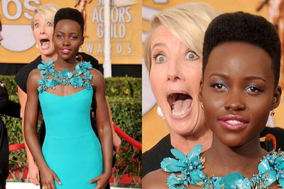 And then came Emma Thompson's ultimate photobomb on Lupita Nyong'o at the SAG Awards. Better than J-Law's Taylor Swift photobomb?
