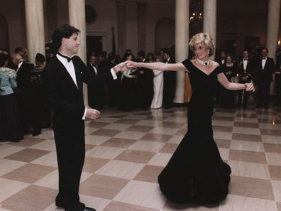 John Travolta dances with Princess Diana at the White House, 1985.