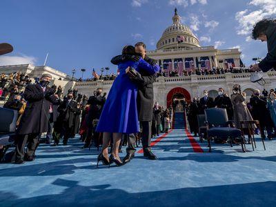 Hug after being sworn in
