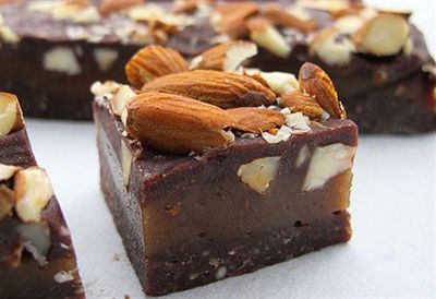 Raw almond caramel slice