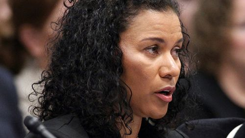 Lise-Lotte Lublin, who says Bill Cosby sexually assaulted her in 1989, testifies during a hearing at the Legislative Building in Carson City. (AP)