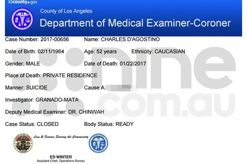 The Los Angeles county coroner's report for Charles D'Agostino, obtained by nine.com.au