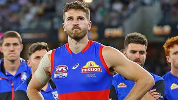Marcus Bontempelli looks dejected after losing the AFL grand final
