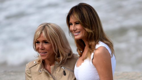 French first lady Brigitte Macron, left, with US First Lady Melania Trump at Biarritz.