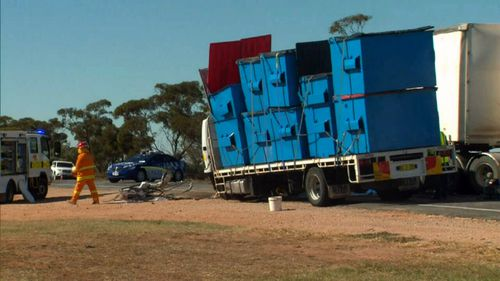 The Sturt Highway was closed for some hours following the crash. (9NEWS)