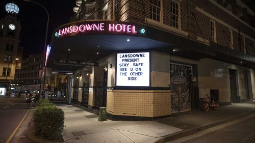 Pubs like Sydney's Lansdowne Hotel will stay closed until Step Three.