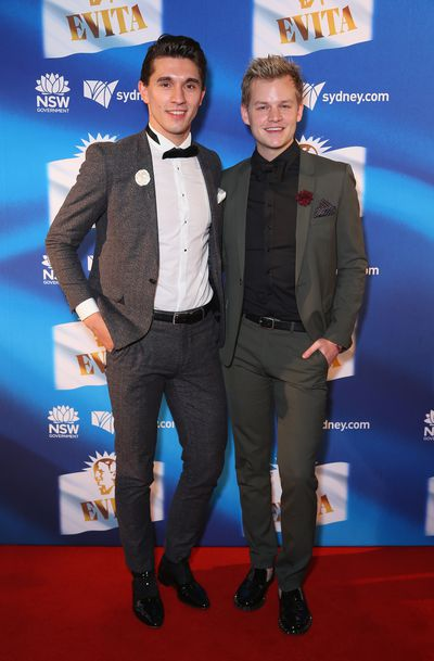 Joel Creasy and his partner at the premiere of <em>Evita</em>, Sydney Opera House.