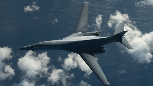 The US sent two B-1 bombers over the Korean Peninsula in response to the North's missile test. (AAP)