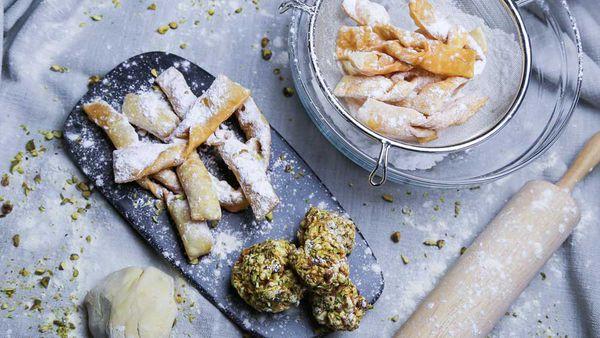 The Pluchinotta's Crostoli with Salted Caramel Popcorn Balls