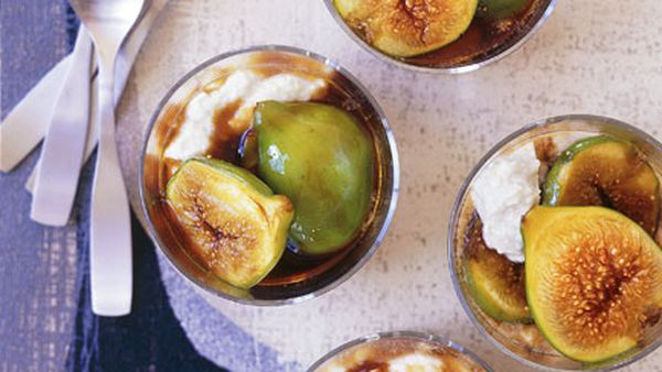 Balsamic caramel figs with ricotta mousse