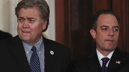 Steve Bannon and Reince Priebus. (AAP)